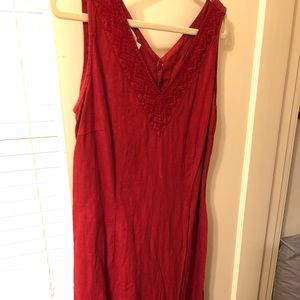 Red Linen Dress Lg